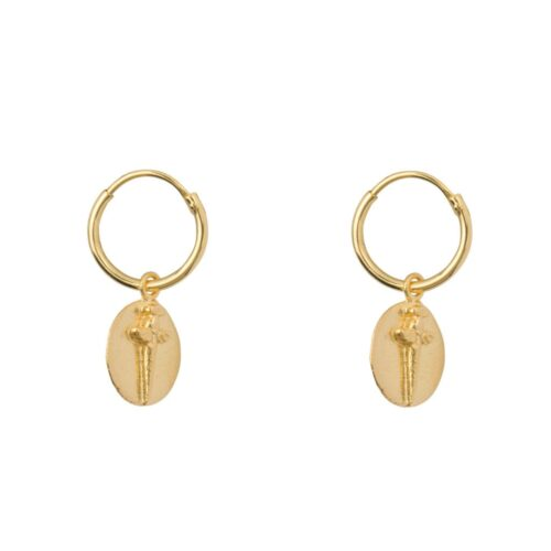 E974 Gold EARRING Small Hoop Double Oval Sword Earring Gold Plated 49,95 euro