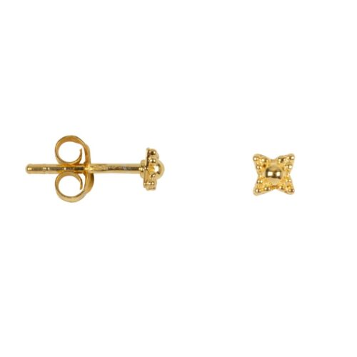 E977 Gold EARRING Antique Dotted Stud Gold Plated 24,95 euro