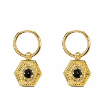 E978 Gold EARRING Small Hoop Vintage Onyx Coin Gold Plated 49,95 euro