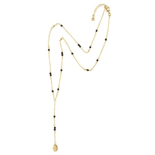 N964 Gold NECKLACE Black Onyx Maria Necklace Gold Plated 79,95 euro
