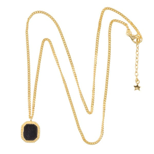 N968 Gold NECKLACE Black Octagon Dots Necklace Gold Plated 89,95 euro