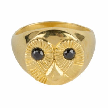 R956 Gold Size 14 RING Owl Face Ring Gold