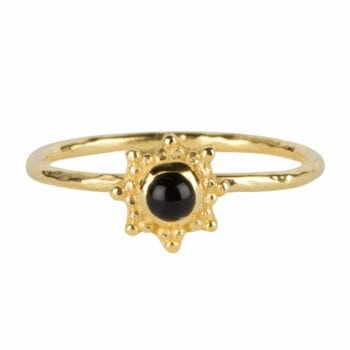 R962 Gold RING Antique Dotted Octagon Black Onyx Ring Gold Plated 39,95 euro