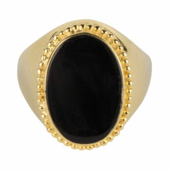 R969 Gold RING Black Big Oval Dots Signet Ring Gold Plated 74,95 euro