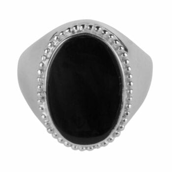 R969 Silver RING Black Big Oval Dots Signet Ring Silver 64,95 euro