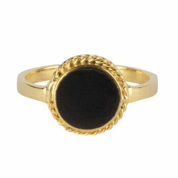 R971a Gold RING Black Round Chain Ring Gold Plated 39,95 euro