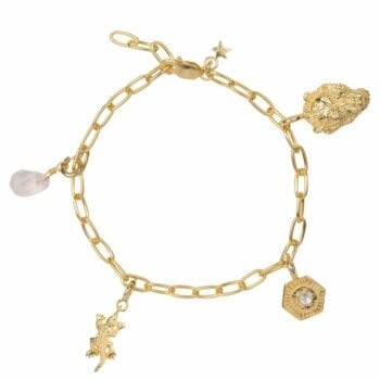 B2029 GOLD PLATED BRACELET Big Chain Bracelet EXAMPLE WITH CHARMS