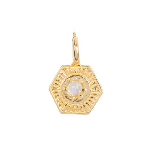C2032 Gold Plated CHARM Vintage Moonstone Coin Bead Gold Plated 29,95 euro
