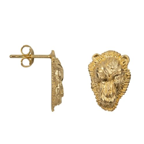 E2002 Gold Plated EARRING Lion Head Small Stud Earring Gold Plated 49,95 euro