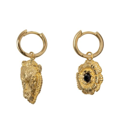 E2003 Gold Plated EARRING Small Hoop Lion Head and Wild Flower Gold Plated 59,95 euro