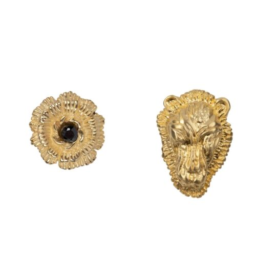 E2005 Gold Plated EARRING Lion Head Small and Flower Stud Earring Gold Plated 59,95 euro