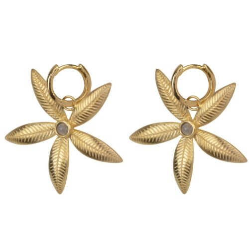 E2006 Gold Plated EARRING Small Hoop Double Lily Flower Earring Gold Plated 69,95 euro