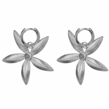 E2006 Silver EARRING Small Hoop Double Lily Flower Earring Silver 59,95 euro