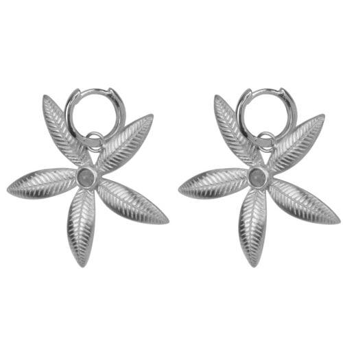 E2006 Silver EARRING Small Hoop Double Lily Flower Earring Silver 59,95 euro