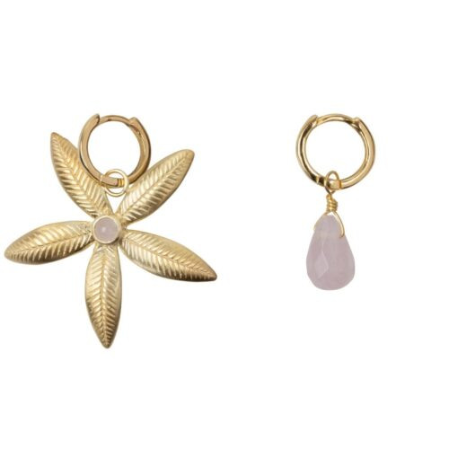E2007 Gold Plated EARRING Small Hoop Lily Flower and Rosequartz Earring Gold Plated 49,95 euro