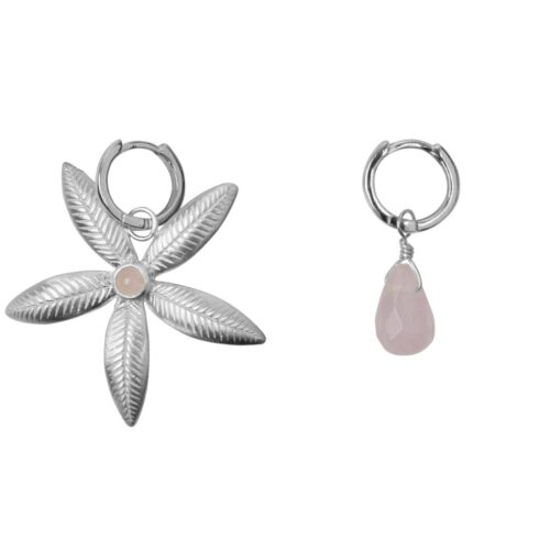 E2007 Silver EARRING Small Hoop Lily Flower and Rosequartz Earring Silver 39,95 euro