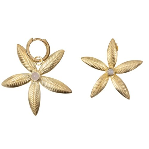 E2008 Gold Plated EARRING Lily Flower Stud and Small Hoop Lily Flower Earring Gold Plated 69,95 euro