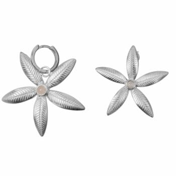E2008 Silver EARRING Lily Flower Stud and Small Hoop Lily Flower Earring Silver 59,95 euro