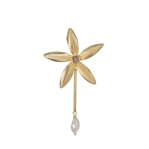 E2008a Gold Plated EARRING Lily Flower Stud and Pearl Chain Earring Gold Plated (SINGLE PIECE) 44,95 euro