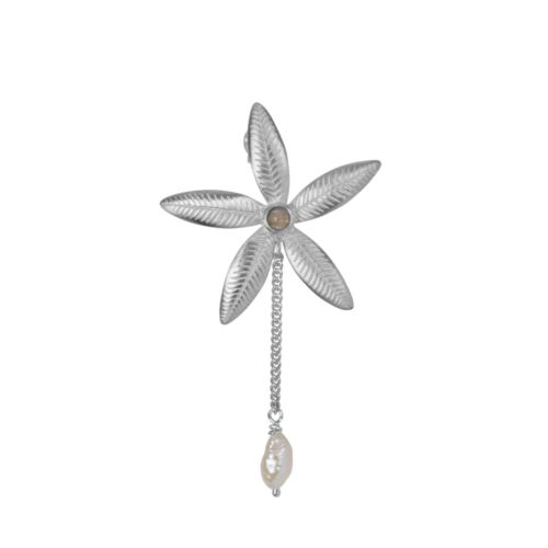 E2008a Silver EARRING Lily Flower Stud and Pearl Chain Earring Silver (SINGLE PIECE) 34,95 euro