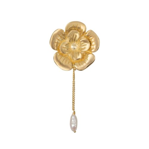 E2009a Gold Plated EARRING Poppy Flower Stud and Pearl Chain Earring Gold Plated (SINGLE PIECE) 49,95 euro