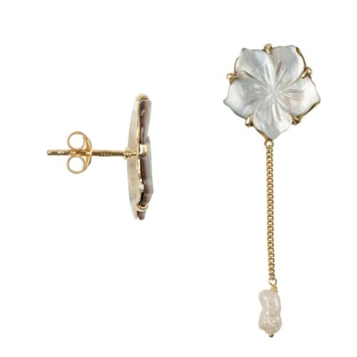 E2011a Gold Plated EARRING Shell Flower Stud Pearl Chain Earring Gold Plated 54,95 euro