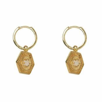 E2034 Gold Plated EARRING Small Hoop Vintage Coin Moonstone Gold Plated 49,95 euro