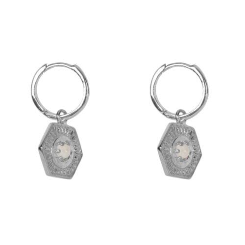 E2034 Silver EARRING Small Hoop Vintage Coin Moonstone Silver 44,95 euro