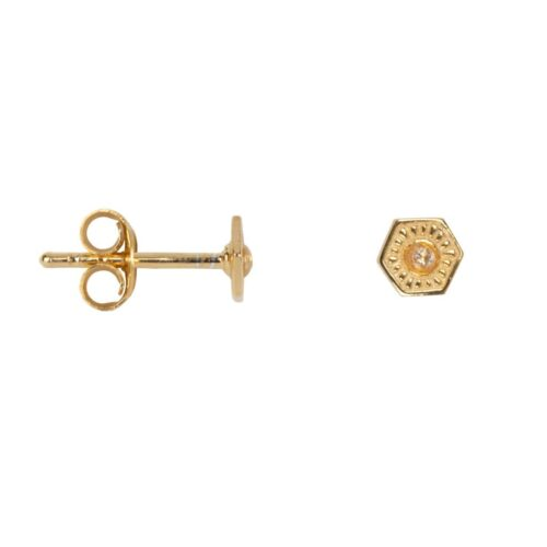 E2035 Gold Plated EARRING Vintage Zirkonia Coin Stud Earring Gold Plated 34,95 euro