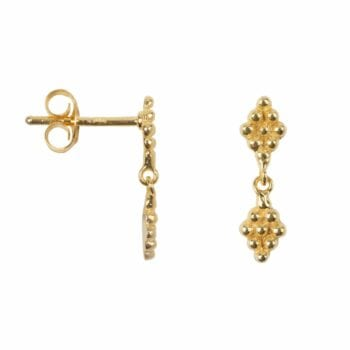 E2037 Gold EARRING Double Dotted Wieber Stud Earring Gold Plated 39,95 euro