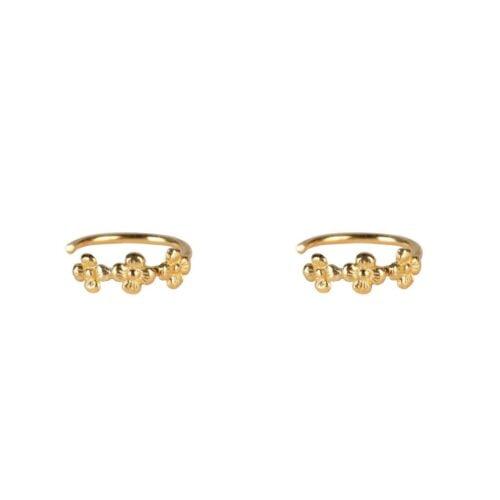 E2044 Gold PLAIN EARRING Dotted Mini Flowers Plain Ring Earring Gold Plated 34,95 euro