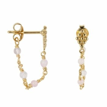 E2047 Gold PINK EARRING Wieber Chain Pink Stones Stud Earring Gold Plated 39,95 euro