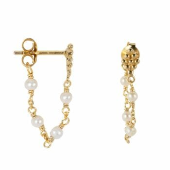 E2047 Gold WHITE EARRING Wieber Chain with Pearls Stud Earring Gold Plated 39,95 euro