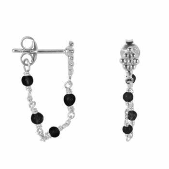 E2047 Silver BLACK EARRING Wieber Chain Black Stones Stud Earring Silver 34,95 euro