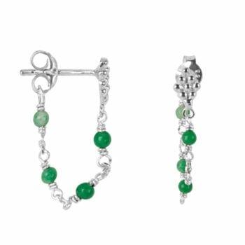 E2047 Silver GREEN EARRING Wieber Chain Green Stones Stud Earring Silver 34,95 euro