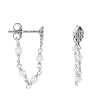 E2047 Silver WHITE EARRING Wieber Chain with Pearls Stud Earring Silver 34,95 euro