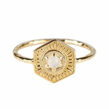 R2034 Gold Plated RING Vintage Coin Moonstone Ring Gold Plated 44,95 euro