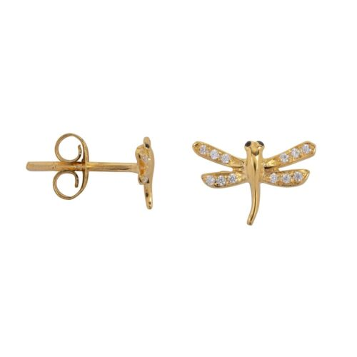 TH-E2021 Gold Plated EARRING Dragonfly Zirkonia Stud Earring Gold Plated (PER SINGLE PIECE) 79,95 euro