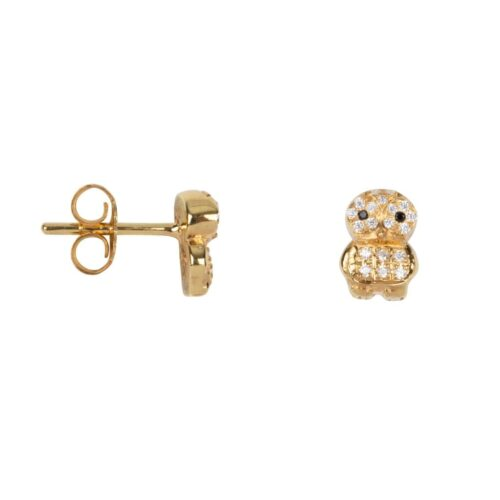 TH-E2022 Solid Gold EARRING Owl Zirkonia Stud Earring Solid Gold 14 krt (PER SINGLE PIECE) 279,95 euro