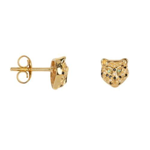 TH-E2023 Gold Plated EARRING Leopard Zirkonia Stud Earring Gold Plated (PER SINGLE PIECE) 119,95 euro