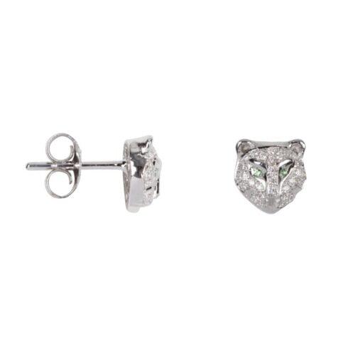 TH-E2023 Silver EARRING Leopard Zirkonia Stud Earring Silver (PER SINGLE PIECE) 99,95 euro