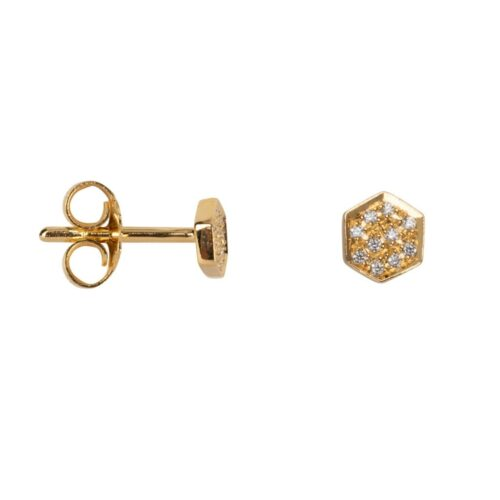TH-E2026 Gold Plated oorbel Hexagon White Zirkonia Stud Earring Gold Plated (PER SINGLE PIECE) 49,95 euro
