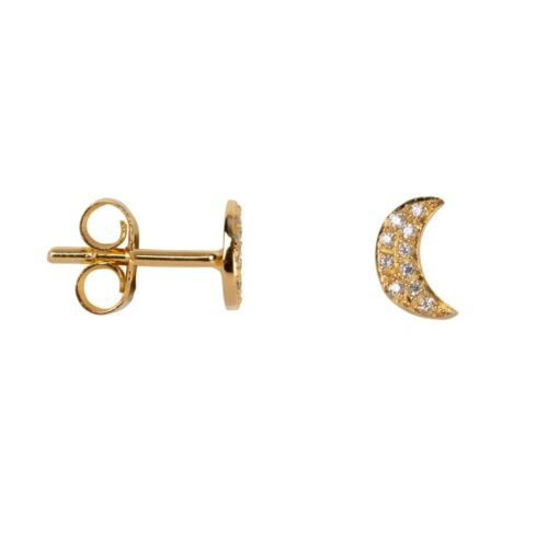 TH-E2027 Gold Plated EARRING Moon Zirkonia Stud Earring Gold Plated (PER SINGLE PIECE) 49,95 euro