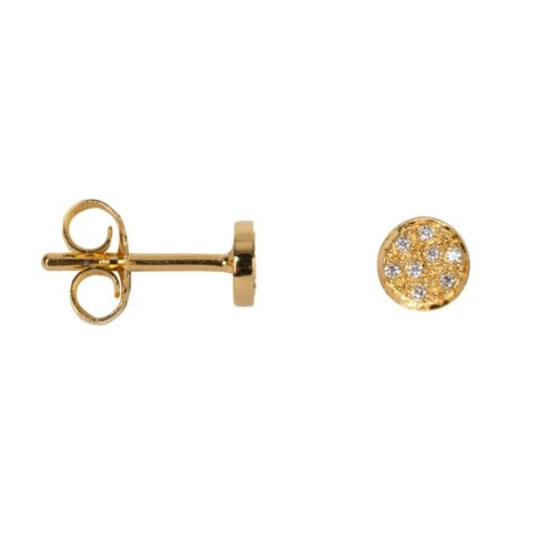 TH-E2028 Gold Plated EARRING Round Zirkonia Stud Earring Gold Plated (PER SINGLE PIECE) 49,95 euro