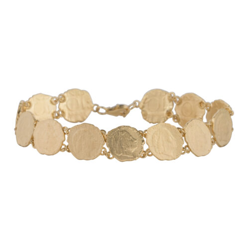 B2059 Gold Ten Cent In a Row Bracelet Gold Plated 159,95