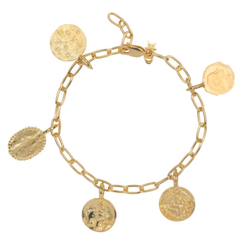 B2061 Gold Charms 5 Coins Bracelet Gold Plated 199,95