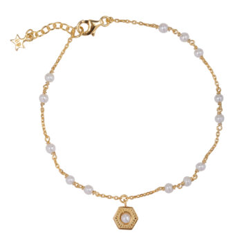 B2076 Gold Big Vintage Pearl Coin Pearls Bracelet Gold Plated 69,95