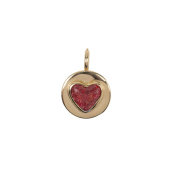 C2056 Gold Red Heart Charm Gold Plated 34,95