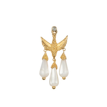 E2051 Gold Bird Three White Stones Stud Earing Gold Plated (SINGLE PIECE) 49,95