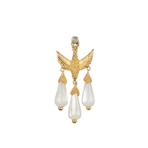 E2051 Gold Bird Three White Stones Stud Earing Gold Plated (SINGLE PIECE) 49,95